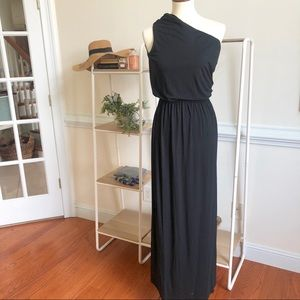 Rachel Zoe one shoulder long black dress